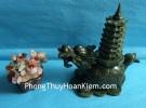 Rùa đầu rồng lam ngọc cõng tháp nhỏ HM034