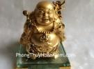 Phật di lặc vàng đứng trên đế thủy tinh G139A