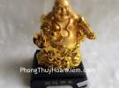 Phật di lặc vàng đứng gánh như ý xâu vàng đế gỗ G143A