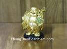 Phật di lạc vác bao vàng dán xe C136A