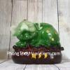 Thần tài heo xanh ngọc trên túi tài lộc nhỏ LN025