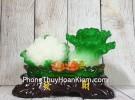 Bắp cải và hoa cải xanh trên bụi mẫu đơn lưu ly đế gỗ nhỏ LN071