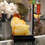 C135A.1 150x150 Phật di lạc vàng cam ngồi ngai vàng C135A