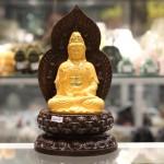 C138A.1.2 150x150 Phật quan âm vàng sa kim đế gỗ C138A