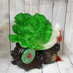 ln077 bap cai tui tien 150x150 Bắp cải xanh lớn trên đế gỗ túi tiền có ngọc bội LN077