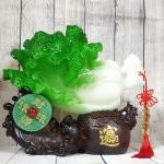 ln077 bap cai tui tien 2 150x150 Bắp cải xanh lớn trên đế gỗ túi tiền có ngọc bội LN077