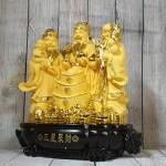 ln113 tam da sa kim vang lon 150x150 Tam đa phước lộc thọ vàng kim sa bên tháp nén vàng lớn LN113