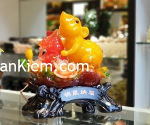 tm003 chuot cam mau don 1 300x250 Chuột ngọc cam trên mẫu đơn ôm hồ lô TM003